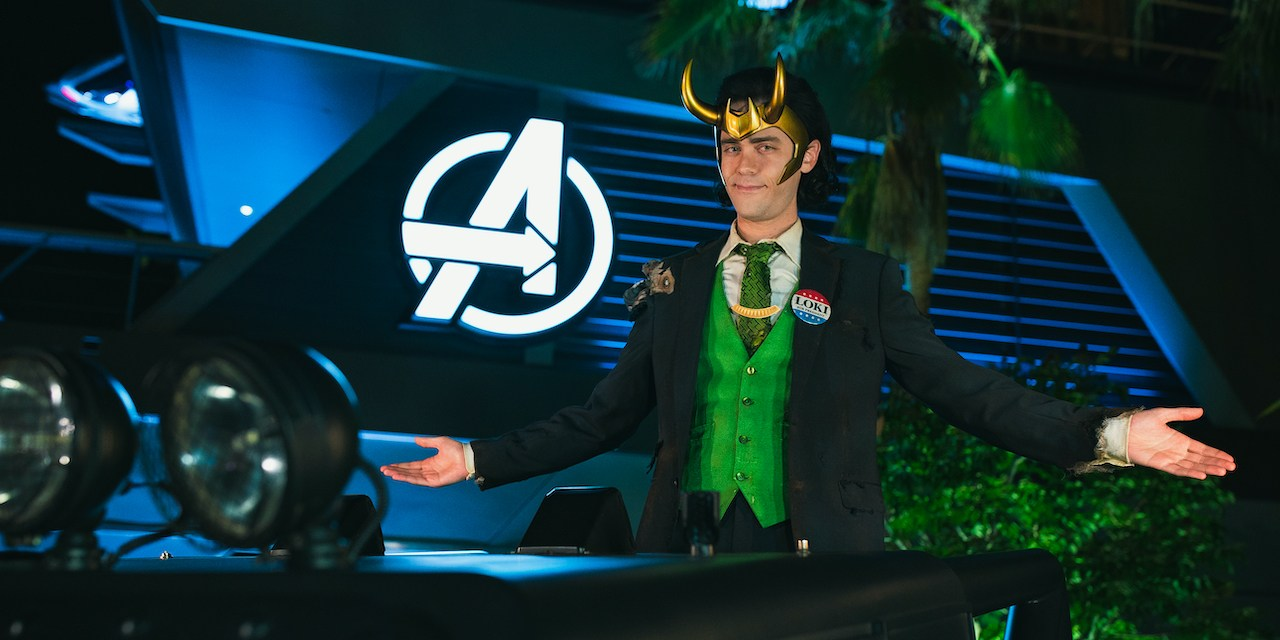LOKI debuts yet another glorious part of his wardrobe at AVENGERS CAMPUS